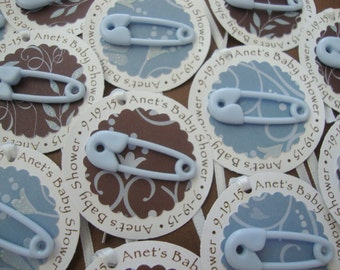 Brown and blue diaper pin baby shower party favor tags
