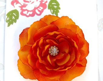 Sienna Burnt Orange Flower Hair Clip, Burnt Orange Brooch, Bridesmaid Flower, Flower Hair Clip