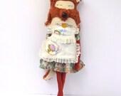 OOAK twee fox girl, 1950s, hand made cloth doll, art doll fox