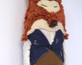 A rather dapper fox, Cloth doll, OOAK, art doll, Fox