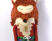 SALE!! A fox in his trunks with a medallion. hand made cloth doll art doll The fox