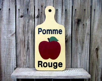 Apple Sign, Red Apple, Pomme Rouge, French Country, Fruit, Kitchen Sign, Bread Board Sign, Antique Tan, Black, Red, Painted Wood Sign