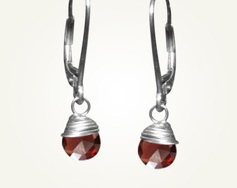 January Birthstone, Garnet Earrings, Garnet Jewelry, CANDY DROP EARRINGS
