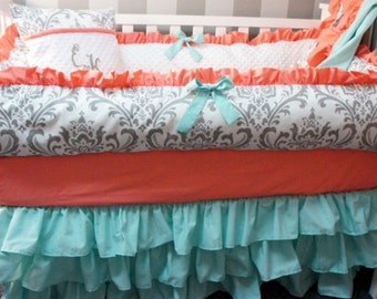 Custom made Baby crib bedding set grey damask with teal and coral  Babylooms