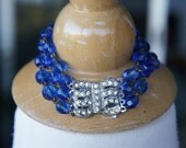 Antique Assemblage Bracelet with Cornflower Blue Antique Rosary Beads and Vintage Rhinestone Clasp