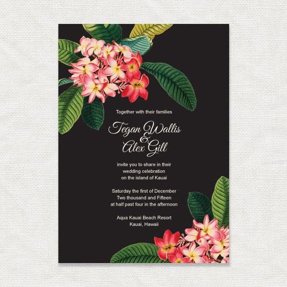 Frangipani tropical floral printable wedding invitation for Tropical wedding invitations
