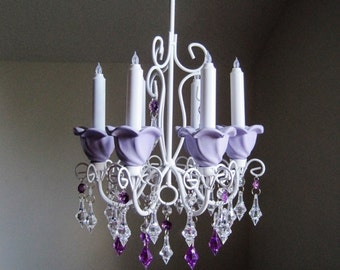 Paris Apartment Candle Chandelier In Lavender MADE TO ORDER