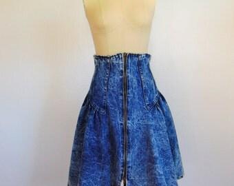 80s high waist ACID WASH denim pouf skirt size small