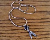 Vintage Sterling Silver and Onyx Feather Pendant