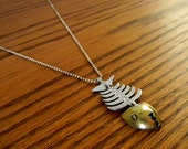 Vintage Sterling Silver and Brass Fish Skeleton Pendant - Signed