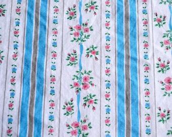Vintage Fabric - Blue Stripe Pink Roses Cotton Ticking - 42 x 30