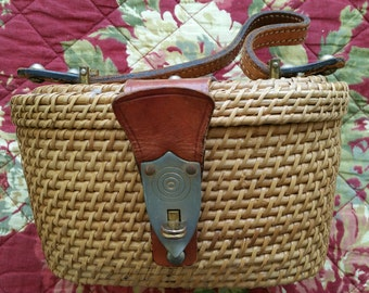 Vintage Wicker Purse or Basket with Leather Accents- Very Charming!