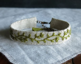 Moss Green Bracelet - Floral Embroidered Cuff Bracelet - Natural Linen Jewelry - Gift Under 40