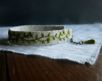 Moss Green Floral Cuff Bracelet - Floral Design in Green on Natural Linen Cuff
