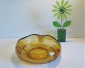Vintage Oversized Viking Glass Ashtray in Amber