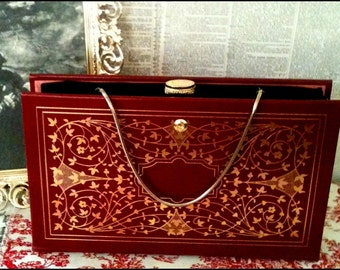 Book Clutch Jane Eyre by Charlotte Bronte Red Leatherbound Gold Gilded Edition Literary Book Purse Made to Order