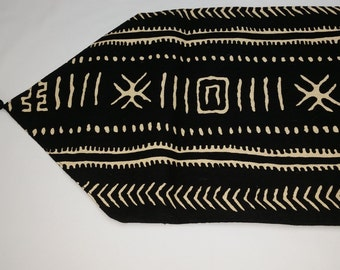 """Black and cream African print tablerunner with black tassels 72"""" x 13"""""""