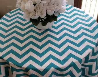 Round tablecloth, turquoise blue and white chevron zig zag, for home or weddding party custom sizes made to order