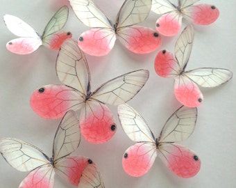 pink blush wedding cake decoration - white edible butterflies - blush butterflies - wedding cake topper - white butterfly - Uniqdots CODE001