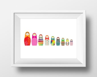 Summer Sale - Digital Download Russian Dolls Big to Small 20inx9in