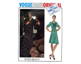 1970s Vogue Pattern Paris Original Dress Yves Saint Laurent Full Sleeve Day or Maxi Vogue 2885 WITH LABEL Bust 34 Vintage Sewing Pattern