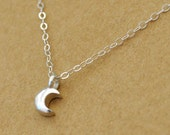 silver moon, moonlit, moon crescent,  SILVER MOON, sterling silver layering necklace, small moon charm, moonlight, under the moon, night,