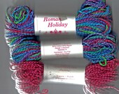Three Skeins  Vintage Crystal Palace Yarns- Roman Holiday- Multicolor & Red Cotton/Rayon