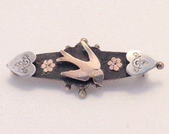 BEAUTIFUL Edwardian Mourning Brooch Swallows Hearts Rose Gold Sterling Silver