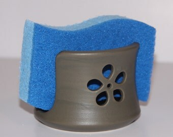 Grey Matte Flower Ceramic Sponge Holder | Made to Order