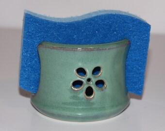 Sea Foam Green Small Flower Ceramic Sponge Holder | Made to order