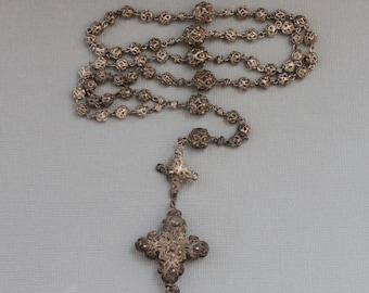 18th century Rosenkranz Bavarian Full Filigree Rosary with Two Credo Crosses