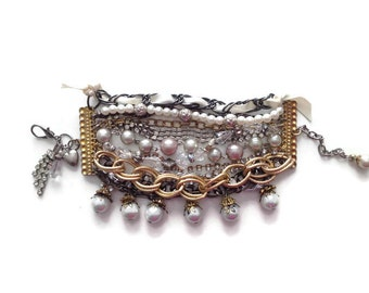 Statement Cuff Chain Pearl Vintage Style Beaded Bracelet in Gold and Silver with Pearls, Crystals, Chain and Ribbon