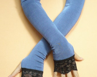 Long Fingerless Blue Gloves with Black Lace Gothic Stretchy Armwarmers w. Thumb Holes, Belly Dance, Vampire Wedding, Noir Dance Armstulpen