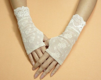 Short beige Romantic Boho Fingerless Gloves, Wedding Mittens, Baroque, Shabby Chic Lace Armwarmers Regency Style Bridal Hand Covers Stulpen