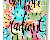 OOAK, Original Scripture Bible Verse Art, radiant, Psalm 34:5, 8 X 10 Collage, Handlettered Bible Verse, Modern Scripture Calligraphy
