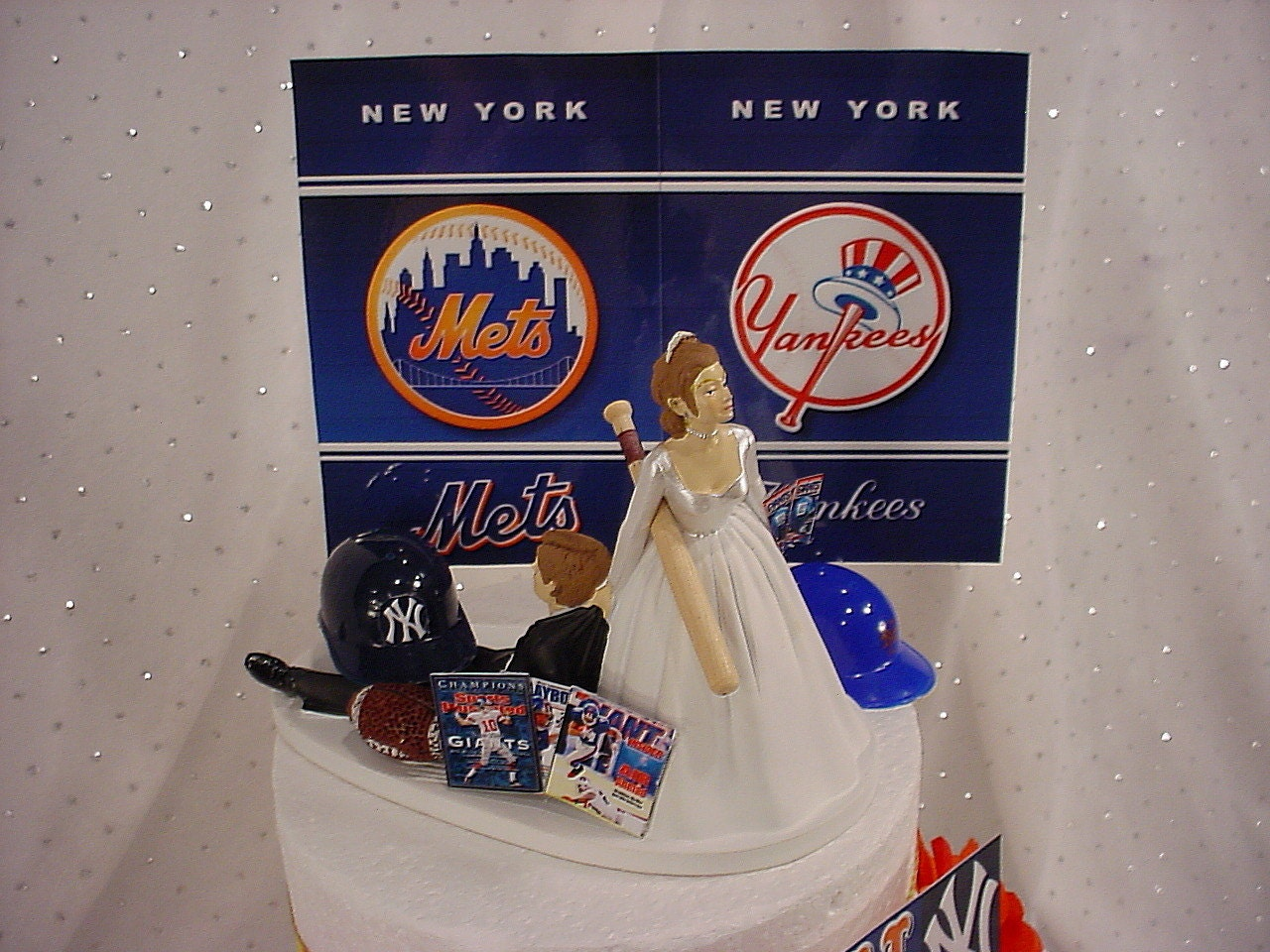 House Divided Ny Sports Fan Groom Wedding Cake Topper Of