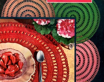 Place Mats and Doilies in the Contemporary Manner Stars Flowers Fans Coats and Clark's Vintage 1950s Crochet Lace Craft Pattern Leaflet 315
