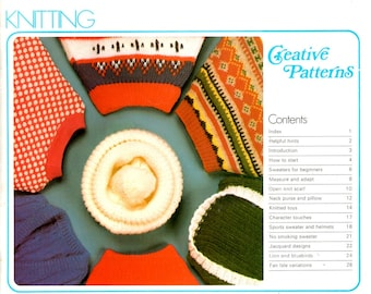 Knitting Creative Patterns Learn How Make Do Toy Sweater Jacquard Designs Fair Isle Purse Pillow Dog Sweater Beginner Craft Pattern Leaflet