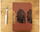 Pocket Size Journal  - Leather Blank Book - Cinnamon brown leather -  Notebook - Recycled Paper - Little Houses