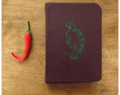 Pocket Size Bird Journal  - Purple Leather Notebook - Blank book - Field Note Diary - Recycled Paper - Partridge
