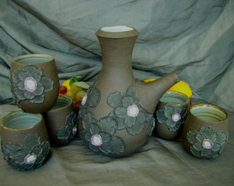 Ceramic Sake Set, Decanter, Pouring Vessel, Cups with Black Poppies on Black Mountain
