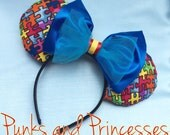 Autism Awareness Puzzle Piece Mickey Mouse Ears Headband