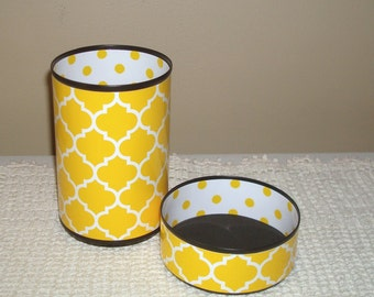 Yellow Moroccan Desk Accessories,  Sunny Yellow and White Polka Dot Pencil Holder, Desk Organizer, Pencil Cup, Office Decor, Dorm Decor  909