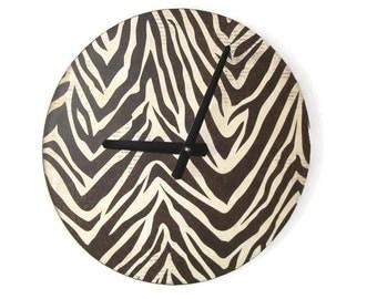 SILENT Zebra Print Wall Clock, 10 or 12 Inch Large Wall Clock, Animal Print Wall Clock, Rustic Home Decor, Safari Zebra Wall Decor -  1781