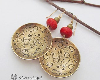 Large Brass Earrings, Tribal Earrings, Red Coral Earrings, Big Bold Earrings, Artisan Handmade Metalwork Jewelry, Boho Chic Bohemian Jewelry
