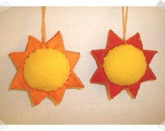 Felt Sun Ornament /Single OR Set of 2/Handmade/ Made to Order**