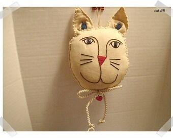 Fabric Cat Ornament/Tea Dyed Muslin Fabric/Handmade/#5**
