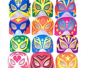 12 printable Lucha Libre masks + 12 black and white masks and cuffs to color in your own way. DIY templates to print & make by Happythought.