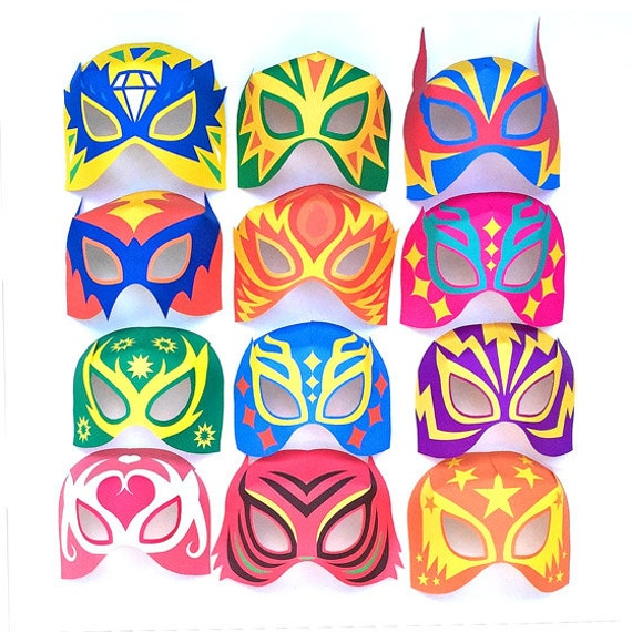 12 printable Lucha Libre masks + 12 black and white masks and cuffs ...