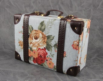 Doll BJD Dollfie Vintage Leather Miniature suitcase Trunk Bag - Blue Floral